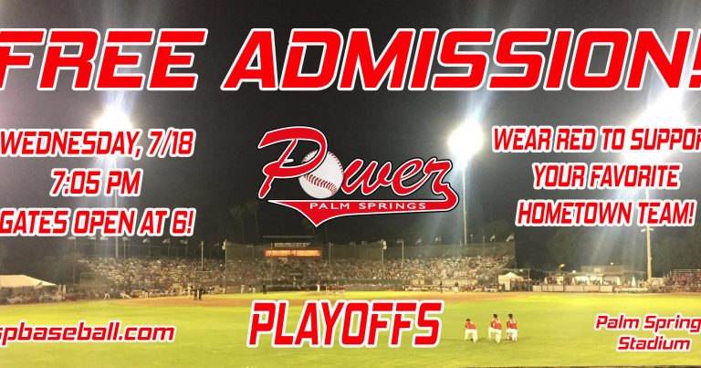 Palm Springs POWER to Offer Free Admission on Wednesday, July 18th for Playoff Game